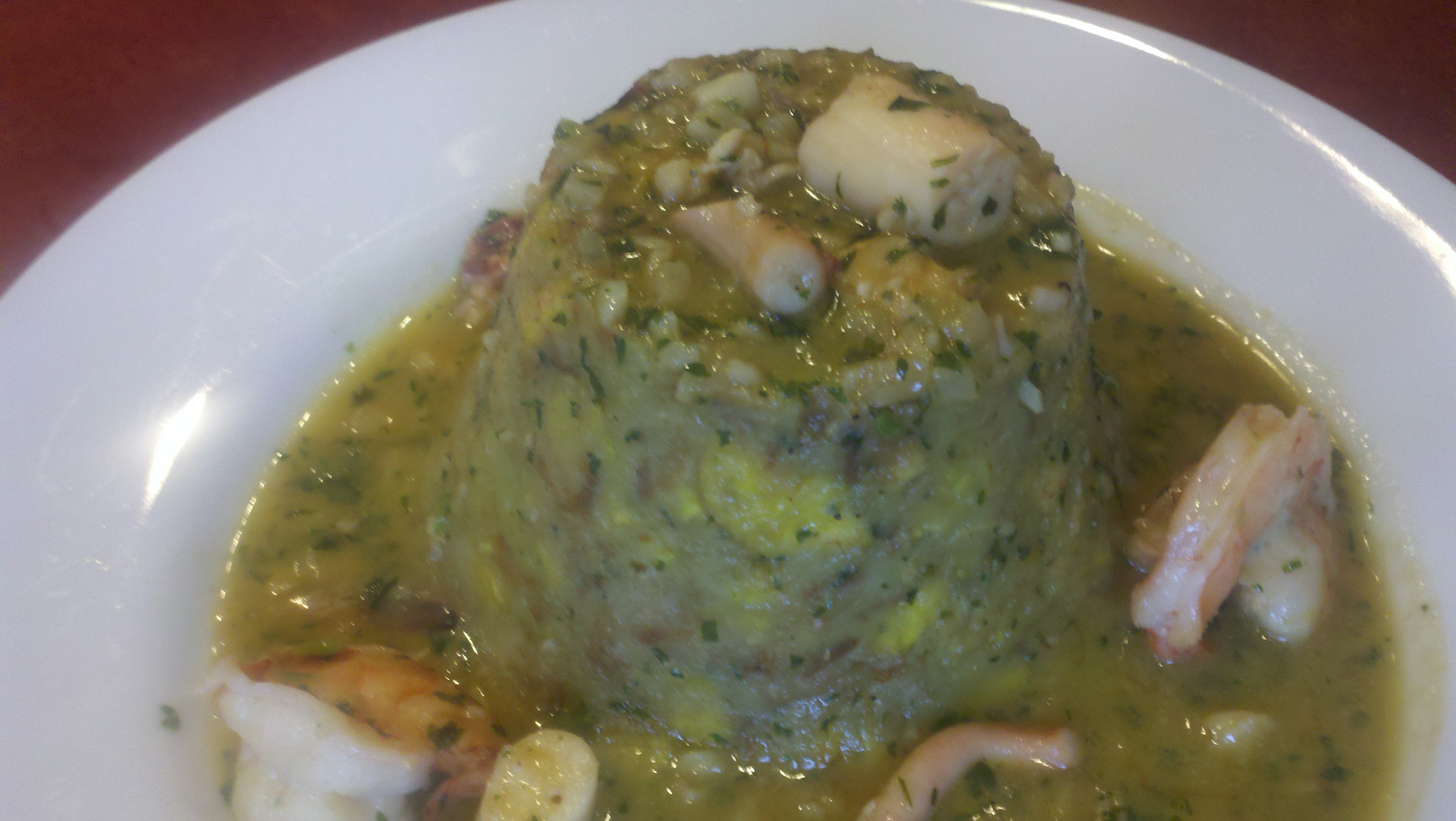 Mofongos Rellenos - Shrimp and Octopus in Garlic Sauce