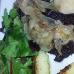 Blood sausage and caramelized onions  topped with apple sauce
