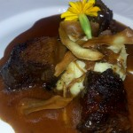 Five spice slow braised boneless bison short ribs, onion jam  truffle parsnip puree & natural jus