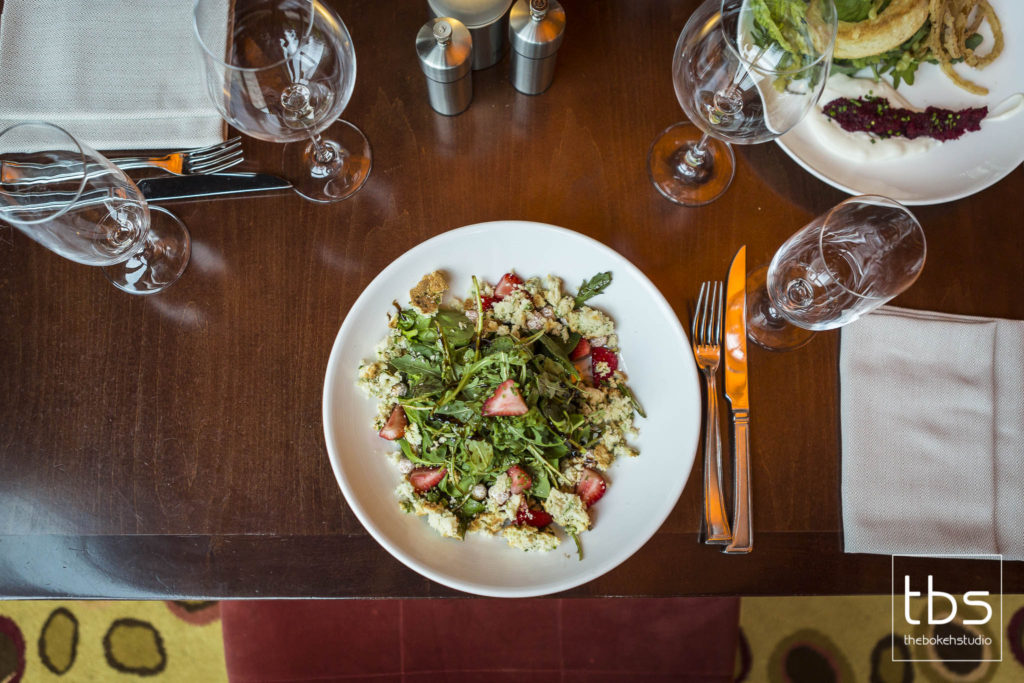 Baby Arugula and Spinach, Candied Hazelnuts, Point Reyes Blue Cheese Crumbs, Strawberry Infused Balsamic
